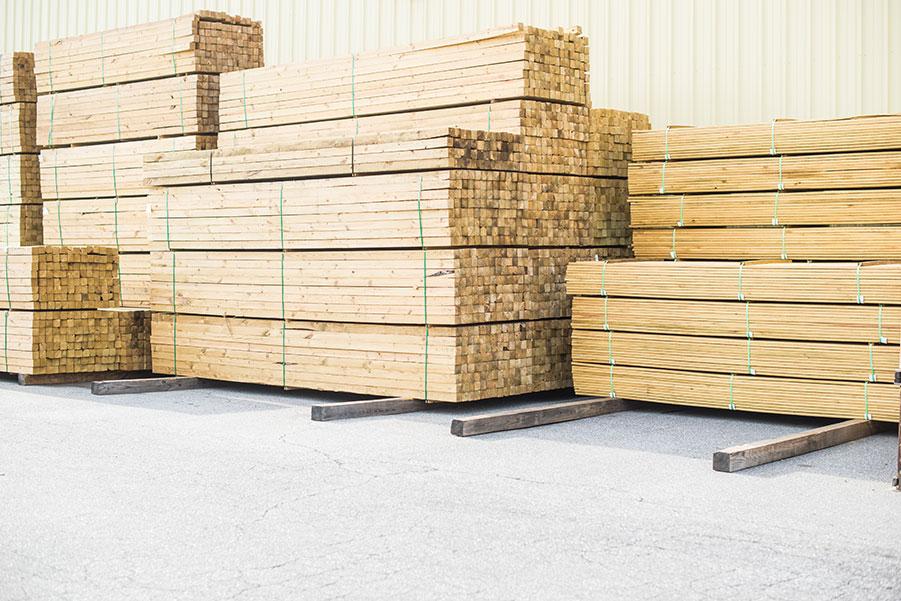 Union Grove Lumber Barn Lumber Stacked